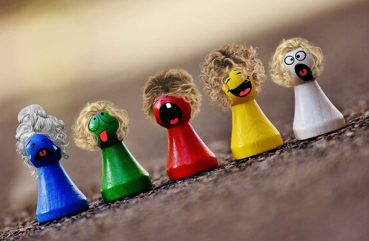Spielsteine Bunt Smilies Lustig Gesichter Figuren
