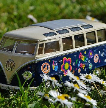 Vw Bulli Wiese Peace Vw Bus Volkswagen Camper