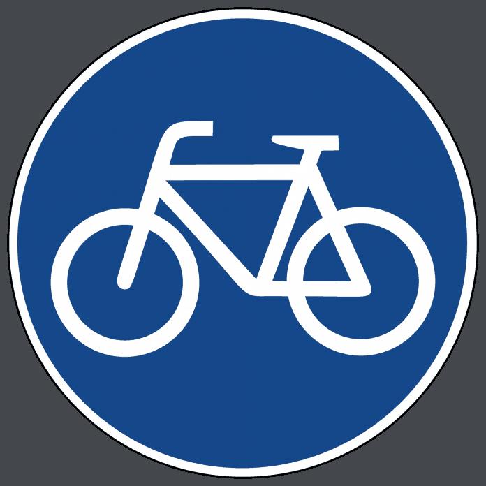 """Radweg Fahrräder und Pedelecs müssen den Radweg benutzen und zwar nur in der jeweiligen Fahrtrichtung. E-Bike-Fahrer dürfen nur Radwege mit dem Schild """"Mofas frei"""" nutzen. Rechts fahren schützt vor einem Bußgeld. Ausnahme: Schlaglochpisten, vereiste, stark verschmutzte oder zugeparkte Radwege müssen nicht befahren werden."""