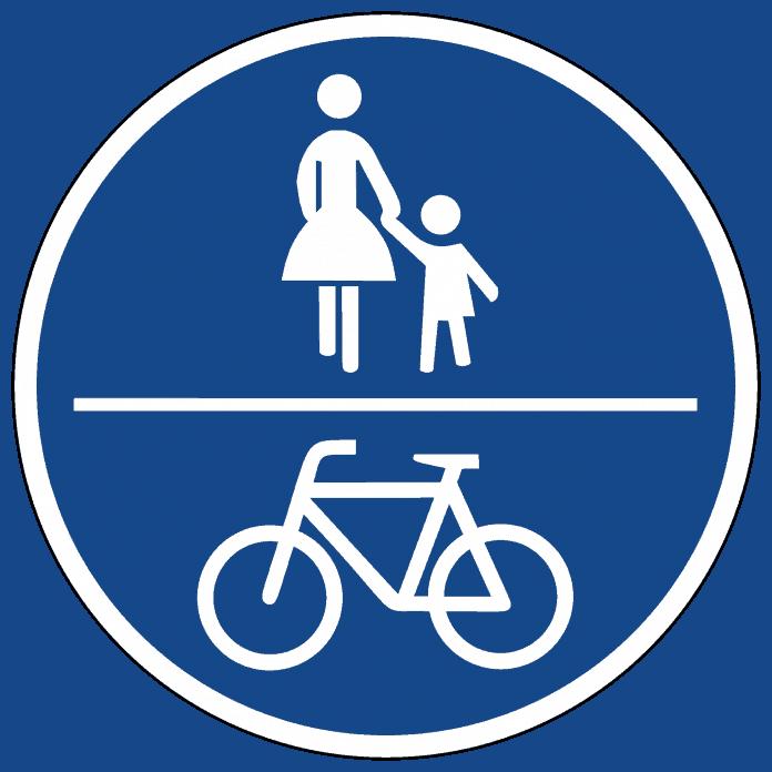 Gemeinsamer Geh-und Radweg Radler teilen sich den Weg mit den Fußgängern und müssen Rücksicht nehmen.