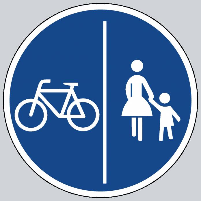 Getrennter Rad- und Gehweg Radler und Fußgänger haben eine eigene Spur Radler dürfen beim Überholen nicht auf den Gehweg ausweichen.