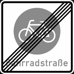Ende einer Fahrradstraße Eine Straße speziell für Radler oder Inline-Skater. Autos dürfen nur fahren, wenn das ausnahmsweise durch ein Zusatzschild erlaubt ist – aber maximal mit Tempo 30. Autofahrer müssen Rücksicht auf Fahrradfahrer nehmen. Diese dürfen nebeneinander fahren.