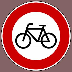 Verbot für Radverkehr Dieses Vorschriftzeichen heißt: Verbot für alle nicht-motorisierten Zweiräder. Das Schild findet man häufig in Fußgängerzonen oder in verkehrsberuhigten Zonen. Hier darf man als Radfahrer nicht hineinfahren. Zusatzschilder müssen beachtet werden.