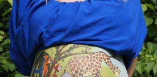 Bauch-Malerei Bellypaint Dschungel Tiere Schwanger