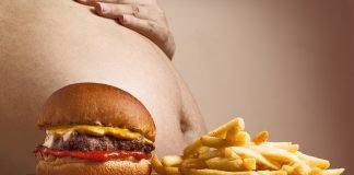 Hamburger P Pommes Frites Bauch Abdominal-Fett