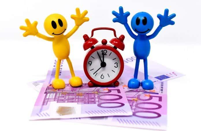 Zeit Ist Geld Geldscheine Figuren Lustig Uhr