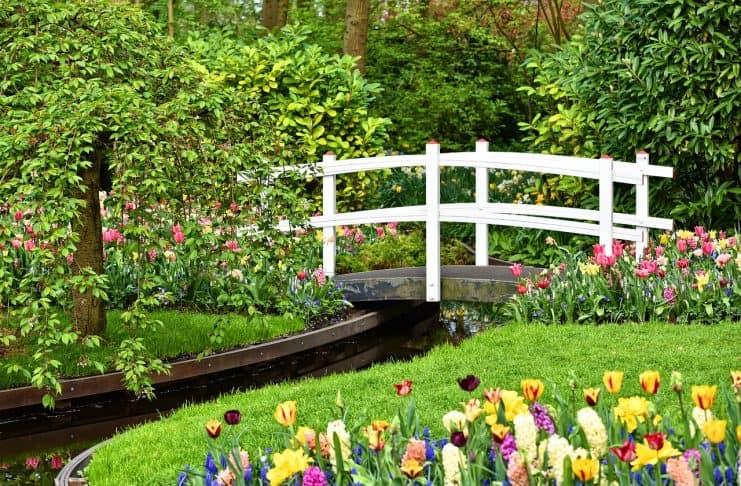 Holzbrücke Weiße Brücke Brücke Bach Garten