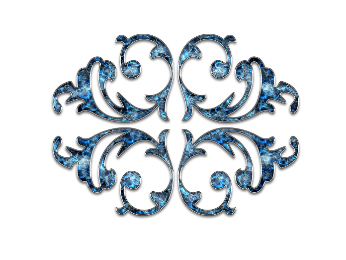 Dekor Ornament Schmuck Blume Blau Silber
