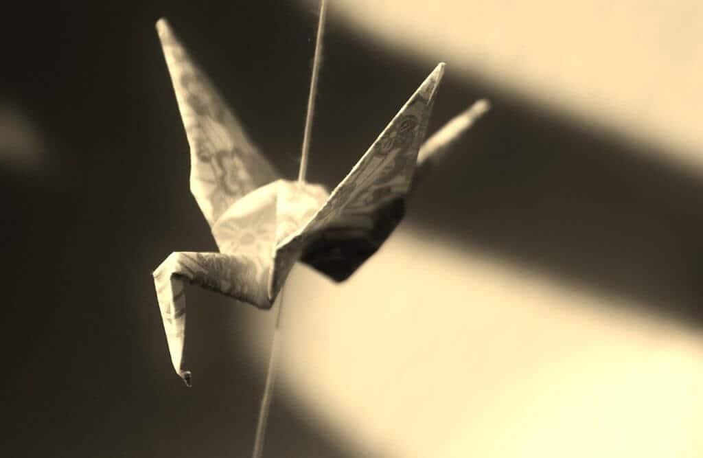 Origami Papier Vogel Basteln Schatten Gefangen