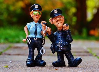Polizist Polizistin Kollegen Lustig Figur Polizei