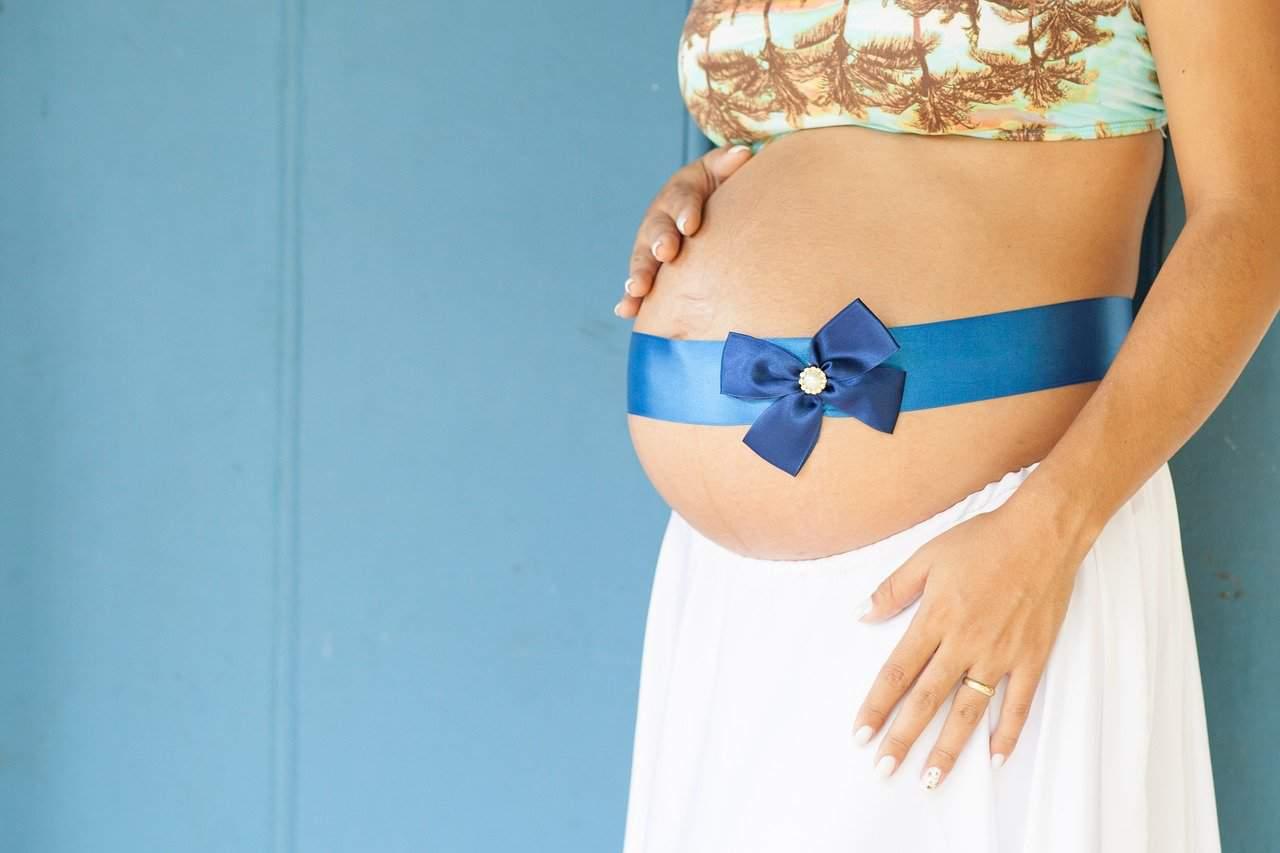Bauch Schwangere Frau Buch Schwanger Mama