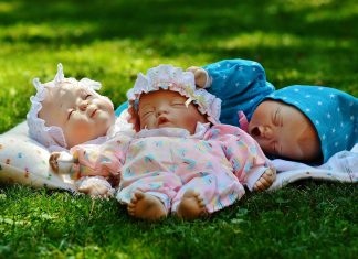 Babies Drei Schlafen Augen Zu Friedlich Niedlich