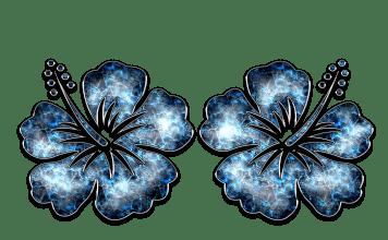 Dekor Ornament Blau Schmuck Blume Hibiskus Silber