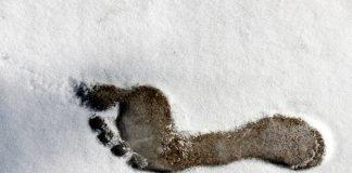 Fußabdruck Nackten Fuß Fuß Gliederung Schnee Kälte