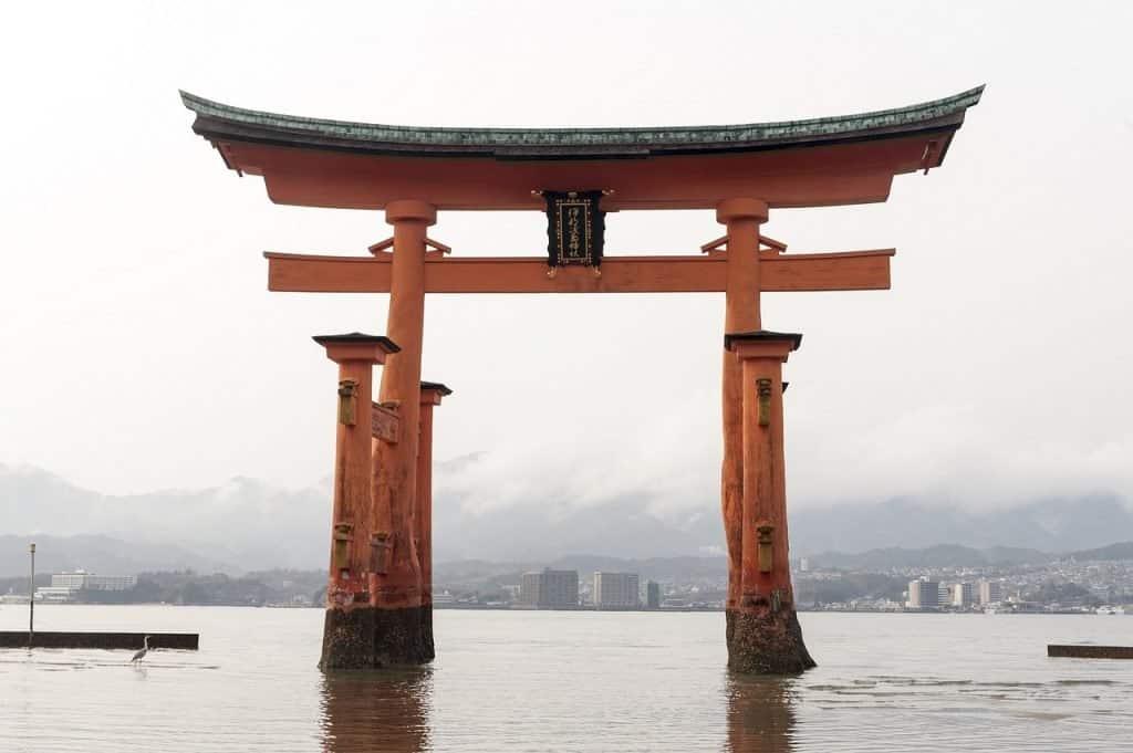 Große Torii Von Miyajima Symbol Grenze Erbe Tor