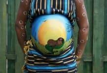 Bauch-Malerei Baby Schwanger Bellypaint Afrika