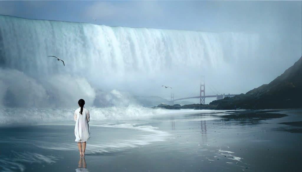 wasserfall welle fantastisch frau natur wasser