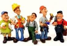 Handwerker Baustelle Arbeiter Truppe Figuren
