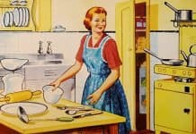 Retro Housewife Family Cooking Kitchen Wife Woman