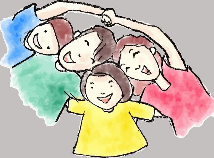 Junge Kinder Comic-Figuren Vater Tochter Zeichnung