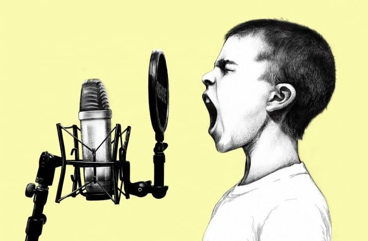 Junge Mikrofon Schrei Kinder Singen Männlich
