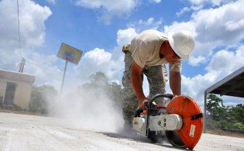 Bau Arbeitnehmer Sah Beton Job Arbeit