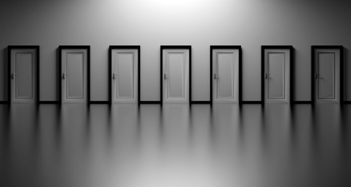 Türen Entscheidungen Wählen Sie Offen Entscheidung