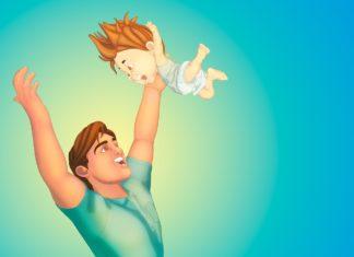 Vater Sohn Baby Union Familie Liebe Glück Mann