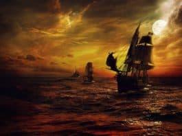 schiff strom meer nacht fantasie rot piraten