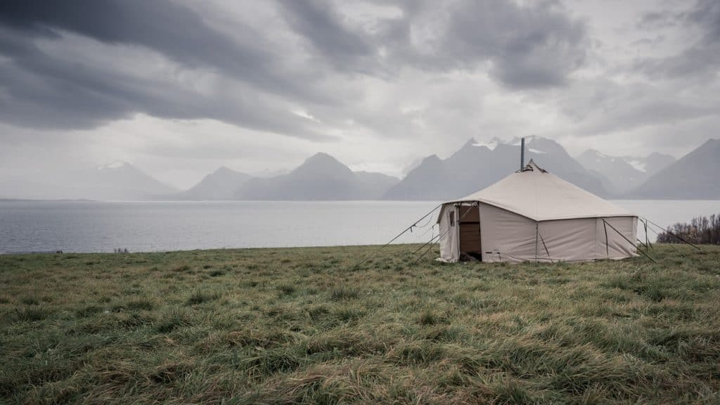 Zelt Reise-Zelt Wolken Landschaft Norwegen Meer