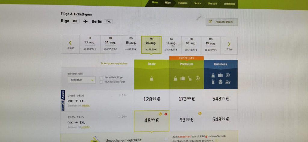 airBaltic und die wundersame Verdopplung der Preise während des Buchens 2