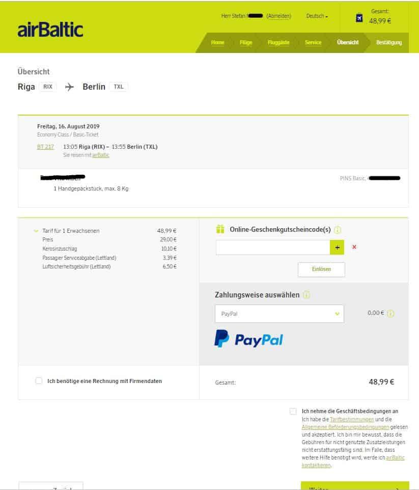 airBaltic und die wundersame Verdopplung der Preise während des Buchens 3