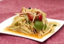Papaya Salat Thailändisch Lebensmittel Asiatische