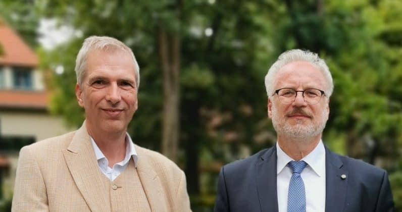 Egils Levits Staatspräsident Lettland und Stefan Fritsche Herausgeber Adeba.de