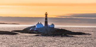 Norwegen Insel Felsigen Sonnenuntergang Leuchtturm
