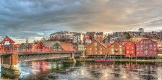 Trondheim Norwegen Architektur Brücke Bunte Fluss