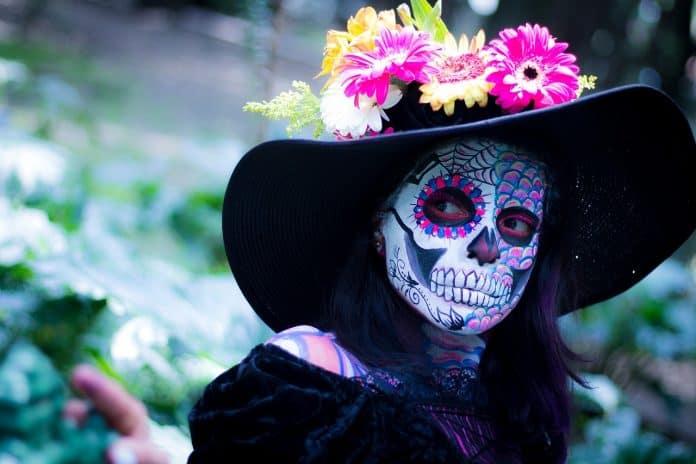 Tag Der Toten Bunte Schminke Mexiko Tradition Frau