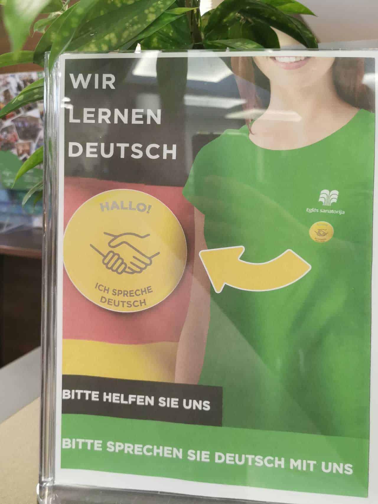 Wir lernen deutsch Mitarbeiter bitte nur deutsch ansprechen (Litauen Spa Hotel)
