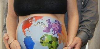 Bauch-Malerei Bellypaint Globus Welt Storch