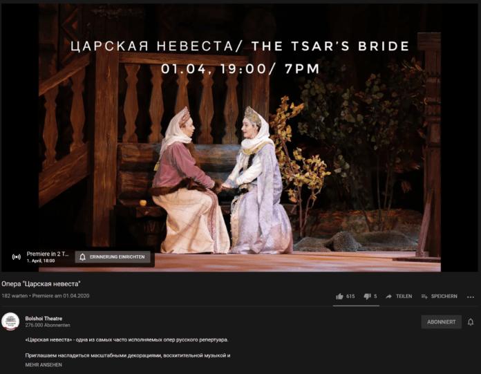 Bolschoi Theater Moskau - Ballet: The Tsar's Bride - Ballet- Die Braut des Zaren oder auf russsich: Опера