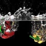 Paprika Gemüse Spritzen Frisch Flüssigkeit Wasser