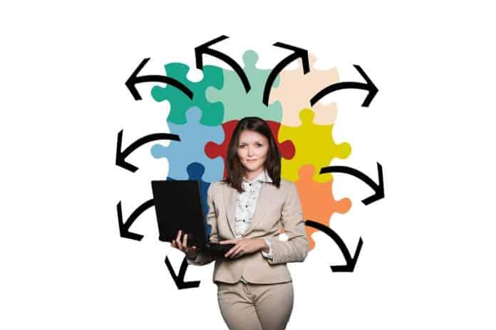 geschäftsfrau geschäft puzzle organisation coach