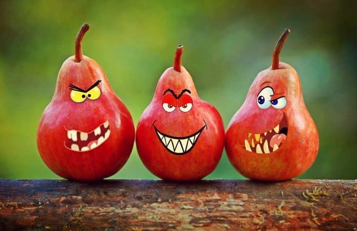 Birnen Gesichter Grimassen Humor Zähne Augen