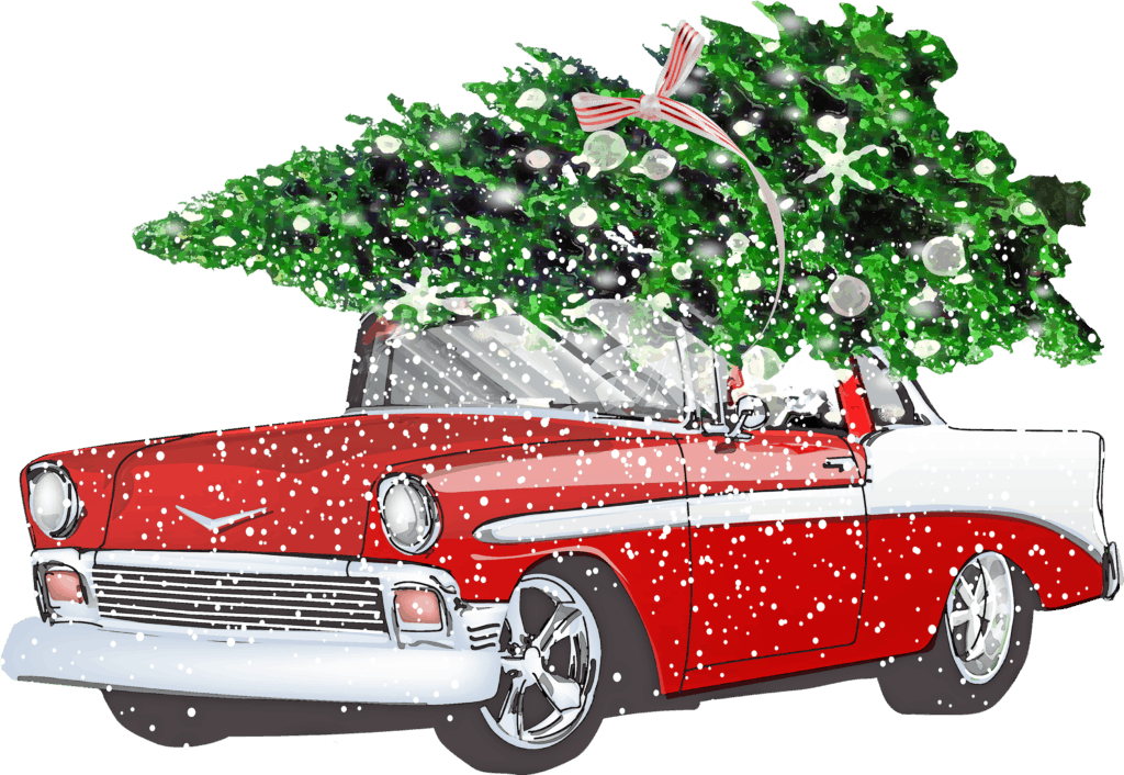 retro-chevrolet mit weihnachtsbaum, schnee, auto