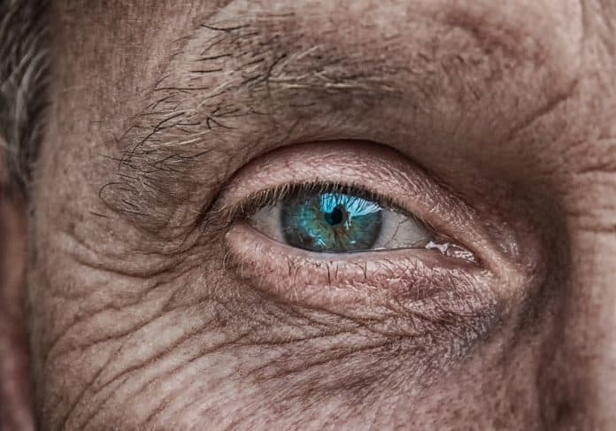 Haut Auge Iris Blau Älter Falten Faltige Haut
