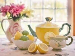 Tee Zitrone Getränke Limonade Stillleben Teekanne