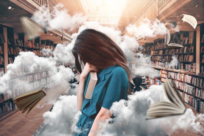 frau, bibliothek, bücher