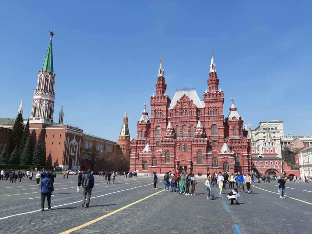 Impfreise nach Moskau/Russland Roter Platz mit Historischem Museum