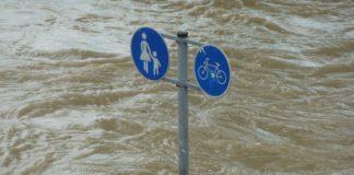 hochwasser, schild, untergang