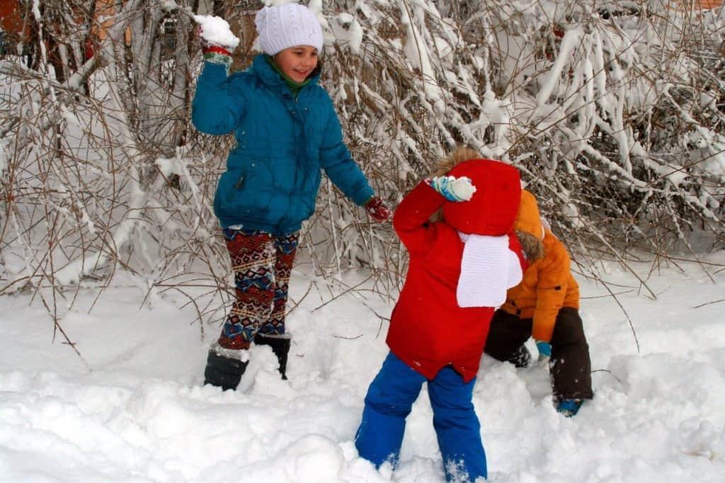 Wohin mit dem Schnee ? Eine Möglichkeit Schneeballschlacht. Räumpflicht und Streupflicht auch im im Garten?